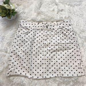 Topshop Moto White polka dot Jean Denim Mini Skirt